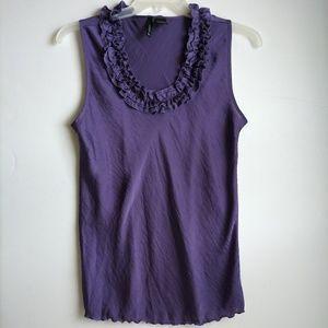🌴New Directions Lavender Ruffle Neck Sleeveless